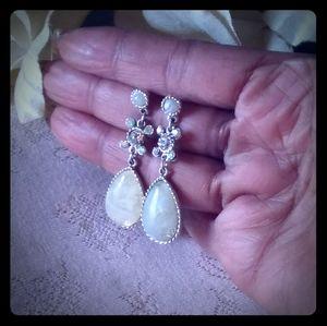 Vintage Lucite Teardrop & Rhinestone Drop Earrings